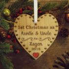 1st First Christmas as Auntie & Uncle Personalised Heart Decoration Gift